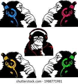 monkey with headphone.DJ chimpanzee.Cool ape with headphones,Cool music chimp with headphones vintage t-shirt design.Banksy monkey set. thinking monkey