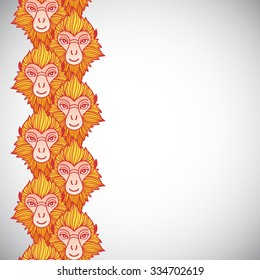 monkey heads border seamless in vertical direction year of the fire or red monkey 2016