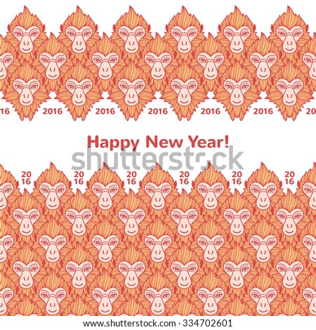 monkey heads new year borders seamless in horizontal direction year of the fire or red