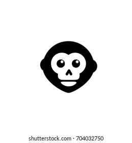 Monkey hipster icon, clever, fast, ape, banana store, mammal, white background, vector illustration