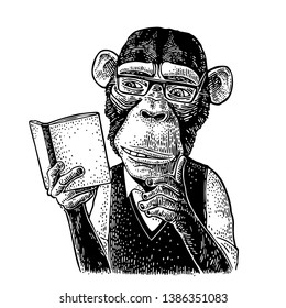 Monkey hipster is reading a book with glasses dressed in shirt and slip-over. Vintage black engraving illustration isolated on white background. Hand drawn design element for poster