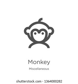 monkey icon. Element of miscellaneous collection for mobile concept and web apps icon. Outline, thin line monkey icon for website design and mobile, app development