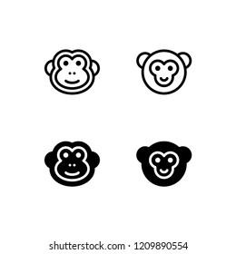 Monkey Icon Logo Vector Symbol. Chimp Icon
