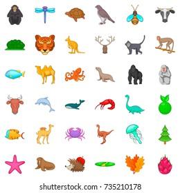 Monkey icons set. Cartoon style of 36 monkey vector icons for web isolated on white background