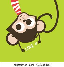 monkey illustration vector for fashion design.