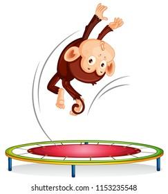 A monkey jumping on trampoline illustration