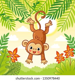 Monkey jumping on the trees. Cute animal in a cartoon style. Vector. Macaque in nature.