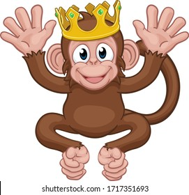 A monkey king cute happy cartoon character animal wearing a crown waving with both hands