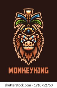 Monkey King mascot for esport and sport team logo Premium Vector