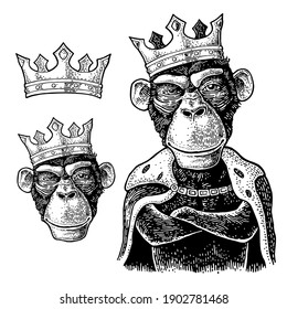 Monkey king with paws crossed dressed in the mantle and crow. Vintage black engraving illustration for poster. Isolated on white background.