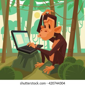 Monkey with laptop. Vector flat cartoon illustration