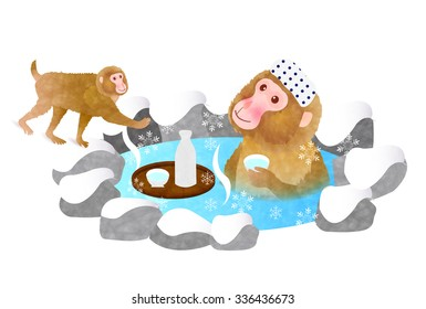 Monkey liquor Hot Springs New Year's card