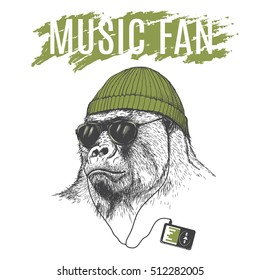 Monkey listening to music in headphones .Dressed in hat.Vector illustration