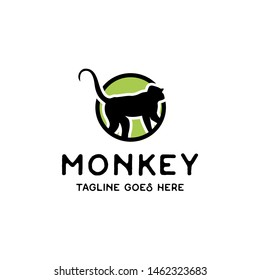 monkey logo in circle with flat style logo icon vector template