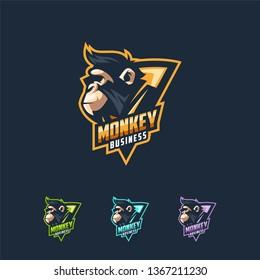 monkey logo design vector illustration template