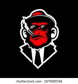 monkey logo gaming, elite red monkey, mafia monkey illustration, a monkey with smoke