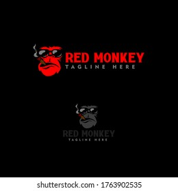 monkey logo sports gaming, elite red monkey, mafia monkey illustration, monkey with smoke