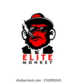 monkey logo sports gaming, elite red monkey, mafia monkey illustration, monkey with smoke