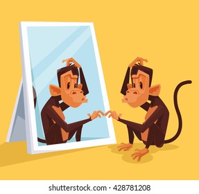 Monkey looks in mirror and did not understand who it is. Vector flat cartoon illustration