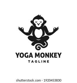 monkey Meditation yoga position logo icon , chimpanzee ape meditating in lotus pose cartoon mascot design illustration