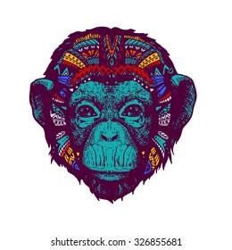Monkey multicolor doodle illustration
