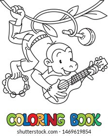 Monkey musician. Coloring book of funny monkey musician or artist with ukulele, maraca and tambourine on lians. Animals with profession ABC. Children vector illustration. Alphabet M