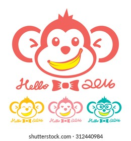 Monkey New Year Icon Symbol. Hello 2016. Vector illustration. Can use of banner, brochure, flyer, greeting card.