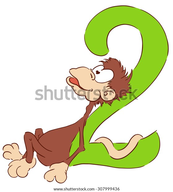 monkey with number two vector