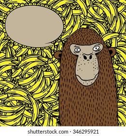 monkey on banana background