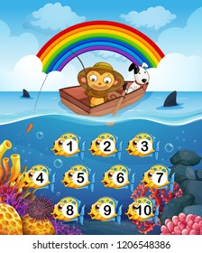 Monkey on the boat fishing illustration