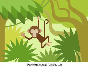 Monkey on the climber tree branch jungle flat design cartoon vector wild animals. Flat zoo nature children collection.