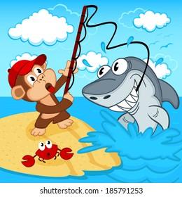 monkey on fishing - vector illustration
