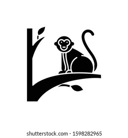 Monkey on tree glyph icon. Tropical country animal, mammal. Exploring exotic Indonesia islands wildlife. Primate sitting. Silhouette symbol. Negative space. Vector isolated illustration