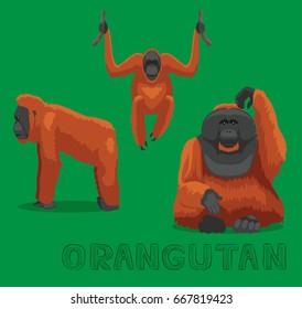 Monkey Orangutan Cartoon Vector Illustration