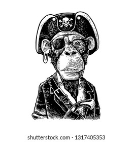 Monkey pirate with gun dressed in a cocked hat, suit, eye patch. Vintage black engraving illustration. Isolated on white background. Hand drawn design element for label and poster