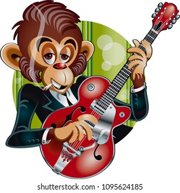 Monkey playing electric guitar