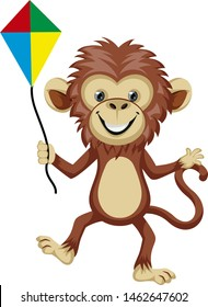 Monkey playing with flying kite, illustration, vector on white background.