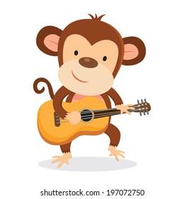 Monkey playing guitar