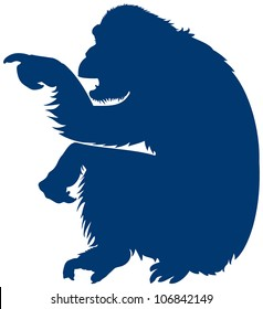 Monkey Pointer, informative sign, Chimpanzee vector silhouette points the finger