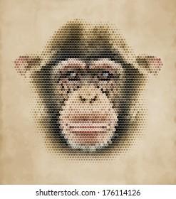 Monkey portrait made of geometrical shapes - Vintage Design Chimpanzee face