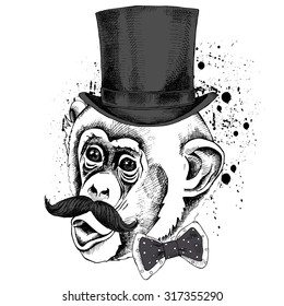 eecd5803ee5 Monkey portrait with mustache in top hat and tie. Vector illustration.