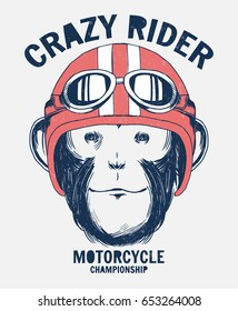 Monkey portrait in a retro helmet of Racer. Fotr t shirt and other uses.