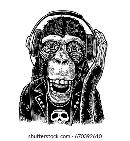 Monkey rocker in headphones and dressed t-shirt with skull. Vintage black engraving illustration for poster. Isolated on white background