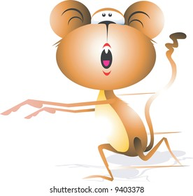 Monkey running with tail up