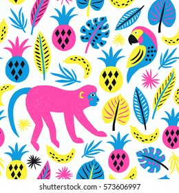 Monkey seamless pattern. Tropical background. Vector illustration.