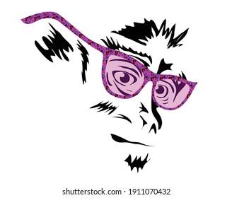 Visage sérieux de singe avec lunettes de soleil roses, noir et blanc, création vectorielle logo