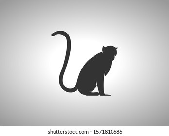 Monkey Silhouette on White Background. Isolated Vector Animal