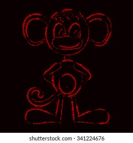 Monkey silhouette of red lights on dark background