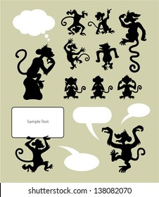 Monkey Silhouette Symbols. Smooth and detail vector. Easy to change color. You can put your own text on speech bubble or sign board.