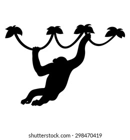 monkey silhouette, vector on a white background